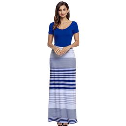 Wholesale color block maxi - Women Elegant Crisscross Back Maxi Dress Patchwork Striped Color Block Short Sleeve Autumn Casual Long Dresses Lc61482