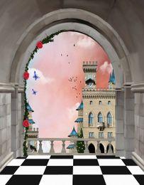 Telones de fondo de mariposa online-Vintage Castle Balcony Photo Backdrops Digital Impreso Red Rose Butterfly Birds Pink Sky Princesa Girl Birthday Fondo para la fotografía