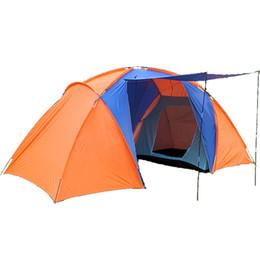 семейные кемпинговые палатки спальни Скидка 2017 Новый Стиль Высокое Качество Большой Туристический Палатка Двойной Слой С Двумя Спальнями Лагерь 4 Человек Большой Палатки Кемпинга Водонепроницаемый Семья Палатки