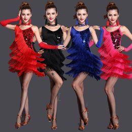 Wholesale Latin Dress Fringe Black - Performance Women Dance Clothes Embroid Costume 3pcs Set with Bracelets Ballroom Fringe Latin Dress Women Competition