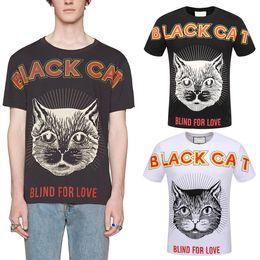 Wholesale Mens Fitness Tshirt - 2018 Mens Black Cat Printed T-Shirt Crew Neck Cotton Short Sleeves Casual Tshirt Man Trim Fitness