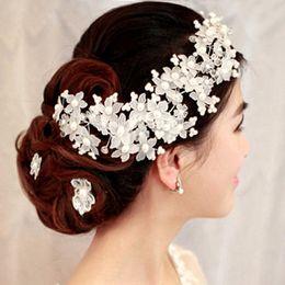 cabelo decorações pérolas Desconto Flor De Noiva Flor Artesanal de Cristal Decoração de Casamento Coreano Pérola Acessórios Para o Cabelo de Casamento Acessórios Para o Cabelo
