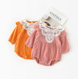 Wholesale Sweet Suits - 2 color 2018 INS spring New styles children's cotton lace collar long sleeves cute sweet climbing suit romper free shipping