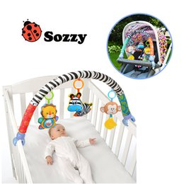 Wholesale Cartoon Baby Cot - Sozzy Baby Stroller Bed Crib Hanging Toys For Tots Cots rattles seat cute plush Stroller Mobile Gifts 88CM Zebra Rattles
