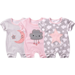 girl smile cartoon Coupons - New Baby Cartoon Rompers Autumn Baby Boy Girl Jumpsuit Star and Moon Smiling Short Sleeve Newborn Infant Clothing Ropa Recien Nacido