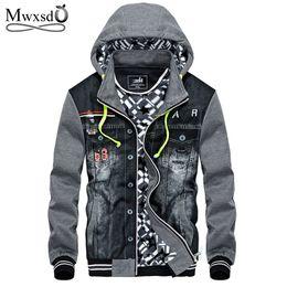 Wholesale Denim Coat Hoodie - Mwxsd winter thick Denim Jacket men hooded sportswear Outdoors Casual fashion Jeans Jackets Hoodies Cowboy Mens Jacket and Coat