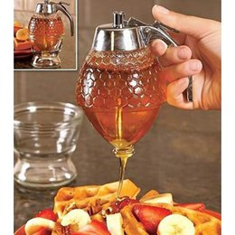 Wholesale bee honey pot - Transparent Acrylic Honey Dispenser Bee Drip Juice Syrup Honey Jar Container Pot Gravy Boats Kitchen Accessories