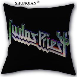 Wholesale Black Priest - Custom Pillow Cover judas priest Home textile Square 45X45cm Decorative Cotton Linen Pillowcase