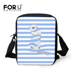 Lindos bolsos azules online-FORUDESIGNS Small Ladies Messenger Bags Cute Blue Stripes Cat Impresión del bolso Crossbody para niños Niña Mujer Bolsos Bolso 2018