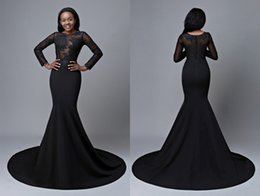 Wholesale Fat Strap - Black Long Sleeve Prom Dresses Cheap 2018 Mermaid Sheer Neck Lace Applique Hollow Back For Plus size Evening Formal Gowns Fat Women Girls