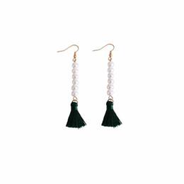 Wholesale gray pearl earrings dangle - Long Pearl Tassel Dangle Earrings for Women Fashion Simulated Pearl Fringe Statement Drop Earring Jewelry Brincos Pendientes