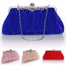 Wholesale Elegent Evening Dresses - Elegent Women Satin Crystal Clutch Party Wedding Purse Evening Bag Handbag Chain