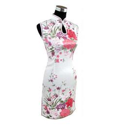 Weiße silk frauen kleidet online-Heißer Verkaufs-Weiß-chinesischen Frauen Silk Rayon Qipao Sommer MiniCheongsam Jahrgang Printed FlowerPeacock Kleid S M L XL XXL 020514