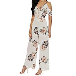Wholesale Vintage Playsuits - Women Vintage V Neck Floral Jumpsuits Wide Leg Pants High Waist Rompers Summer Casual Playsuits