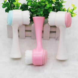 Brosse vibrante en Ligne-Brosse de nettoyage faciale multifonctions double face taille portable 3D visage nettoyage outil de massage brosse de massage facial
