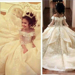 8c431f391dc1 elegant little girl dresses Promo Codes - 2017 Vintage Lace Flower Girl  Dresses Elegant Off Shoulder