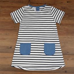 Wholesale denim girls striped dress - Child Denim Pocket Dress Girls Korean Short Sleeve Striped Baby Dress Summer short sleeve fashion dress