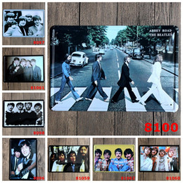 Banda stagno online-Retro Souvenir Tin Poster La banda dei Beatles Sing Abbey Road Iron Painting Open Vocal Concert 20 * 30cm Tin Signs in metallo per collezione 4rjy