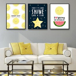 Wholesale sun painting modern art - Prints Art Modern Nordic Style Smiling Face Stars Sun Watermelon Painting Decoration For Living Room Wall Poster Canvas Pictures