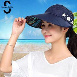 d31c0a23 Women Summer Sun Hats Pearl Foldable Sun Visor Hat With Big Heads Wide Brim  Beach Hat Uv Protection Female Cap 2018 New PSG0131