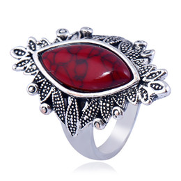 Wholesale woman ring design gemstone - Brand New Beautiful Tibet Antique Silver Vintage Gemstone Turquoise Rings designs Elegant European Jewelry For Women
