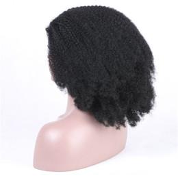 Argentina Afro rizado frente peluca de encaje humano brasileño malasio Remy Vrigin color natural hecho a mano 130% densidad suizo encaje bebé peluquero supplier swiss lace wig malaysian Suministro