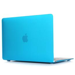 Estuches para macbook 13 pulgadas online-Funda rígida recubierta de goma transparente para Macbook Pro de 13 pulgadas A1706 @ A1708 Laptop Shell Lake Blue