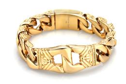 Wholesale vintage totem - 21.5cm * 18mm Heavy Stainless Steel Charm Gold Curb Cuban Bracelet Men's Vintage Totem Bracelets Cool Male Jewelry Wristband