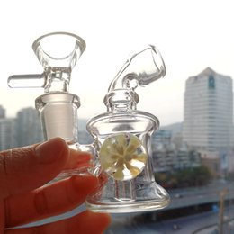 Wholesale nano balls - Small Water Bongs Glass Pipes Dab Rigs Nano Bubbler 3 inch Oil Rigs with Art Flower Ball Perc Downstem Recycler Hookah Mini Rigs 14mm Bowl