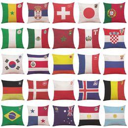 Wholesale Plain Football Tops - 2018 Russia Football World Cup Top 32 Countries National Flag Pillowcase Flag Pillow Case for Bar Club Souvenir CCA8749 50pcs