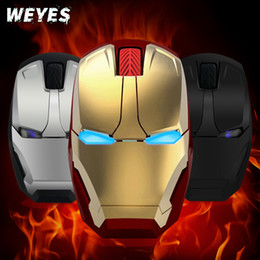 Wholesale Iron Man Games - WEYES Wireless mouse for Iron man appearance Creative power saving Notebook computer games mouse The coolest Art