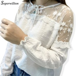 ce3f9431db554d Spring Casual Mesh Linen Blouse Womens Long Sleeve Tops Shirt Lace Up 2018  Sexy Female Blouses Korean Blusas White Office Shirt on sale