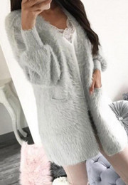 04ec8ace44 New Autumn Winter Fashion Women Long Sleeve loose cardigan sweater Womens  Knitted Female Thick Plush Cardigan pull femme Pocket