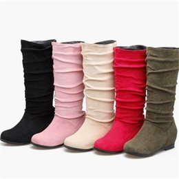 76b5a7b21a0c Fashion Womens Faux Suede Mid Calf Boot Shoes Girls Inner Wedge Heel Half  Boots B907 US UK EUR Size Customized