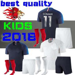 Wholesale France Football Kits - New 2018 World Cup FRanCE black kids soccer jerseys 18 19 POGBA PAYET BENZEMA Griezmann Mbappé football jersey kits shirts maillot De foot