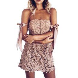 Argentina Vestido mini sin tirantes sexy encaje rosa Tie un nudo vestidos de fiesta verano lindo 2018 Playa niñas corto cheap girl party pink strapless dresses Suministro