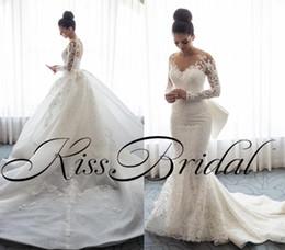 Wholesale Detachable Shirt Lace Wedding Dress - Retro Mermaid Lace 2018 Wedding Dresses Long Sleeves Detachable Overskirts Dubai Arabic Bridal Gowns Luxury Formal Wedding Gowns