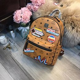 Wholesale Mini Star Bows - 2018 Luxury designer New MCN printing PU students Backpack girl younger teenager Laptop Waterproof Travel computer school Bag 180126019