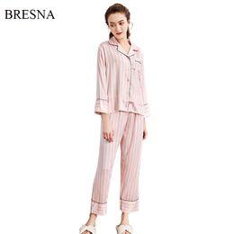 saias de pijamas de seda Desconto BRESNA Conjuntos de Pijama Das Mulheres  Rosa Listrado de Cetim 7876f6fc1