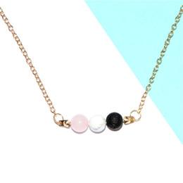 Óleos essenciais colares on-line-12 pçs / lote colar de rocha lava difusor de mármore essencial óleo de jóias colar de aromaterapia colar de pedra de lava boho