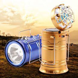 Ventilatore di lanterna online-LED Lantern Light 4 in 1 Portable Bright Solar Power ricaricabile e ventilatore con USB Power Bank per campeggio all'aperto