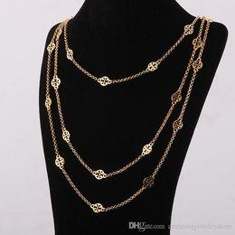 Largos de collar para las mujeres online-Los colgantes huecos del ornamento del material de cobre amarillo de la marca superior en tres capas platearon la longitud del collar del dorado y de la plata 68cm / 77cm / 88cm para la joyería de las mujeres