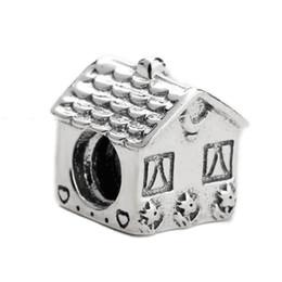 Argentina Real 925 forma de la casa linda de plata con perlas de girasol encajan diy pulseras de joyería caliente regalo cheap house beads Suministro