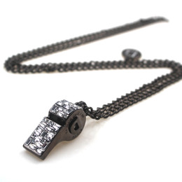 Wholesale necklace whistle - 2018 Necklace Whistle Shape Pendant Necklace in Hematite with Crystal Whistling Jewelry Whistles Necklace, Not Make Sound Whistle