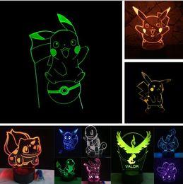 Argentina Venta al por mayor de dibujos animados Pikachu ir figura de acción RGB Littlt tortuga pequeño dragón de fuego 3D 7 color táctil gradiente niño bebé dormitorio luz de la noche cheap action figure fire Suministro