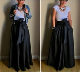 Wholesale Black Asymmetric Skirt - New Fashion Womens High Waist Skirts Solid Black Pleated Casual Summer Skirts Long Maxi Beach Bowknot Asymmetric Wear