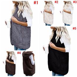 Wholesale hoodie vest women - Women Hooded Vest Winter Warm Jacket Hoodie Outwear Faux Fur Zip Up Sherpa Casual Coat 5 Colors OOA4231