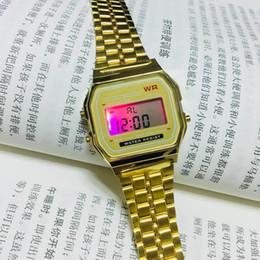 Wholesale Tungsten Digital Watch - Fashion casual small gold watch simple retro gold waterproof steel strap DZ7333 electronic watch men's watch GA110
