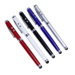 zeiger stift für ipad Rabatt 4 in 1 kapazitiven Stylus Kugelschreiber Laserpointer LED-Licht für iPhone iPad Escolar Papelaria