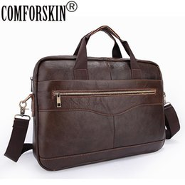 Wholesale leather laptop bags for women - COMFROSKIN Men Messenger Bags with Soft Handle Computer Laptop Bag 100% Luxurious Cow Leather Business Briefcase for Men 2018